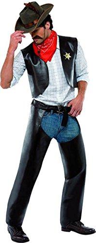 Abzeichen Sheriff Kostüm - Village People Cowboy Kostüm Schwarz mit Weste Chaps Sheriff-Abzeichen und Halstuch, One Size