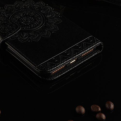 iPhone 7 Plus Hülle,Apple iphone Hülle Lederhülle,Cozy Hut Schutzhülle / Cover / Handyhülle / Etui für Apple iPhone 7 Plus (5,5 Zoll) Panda National treasure Muster Design Folio PU Leder Tasche Case H schwarz