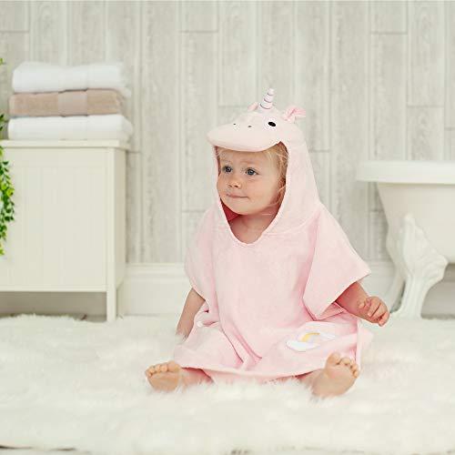 Toalla baño estilo poncho diseño unicornio