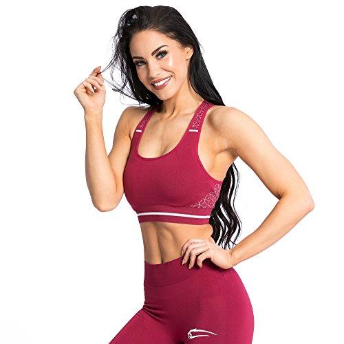 SMILODOX Seamless Sport-BH Damen Feminity | Fitness-BH ohne Bügel | Starker Halt im Training - Bustier für Pilates Yoga Gym Fitness - Soft Büstenhalter - Sports Bra, Größe:S, Farbe:Bordeaux