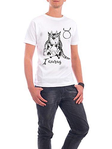 """Design T-Shirt Männer Continental Cotton """"Taurus cat"""" - stylisches Shirt Tiere Comic von Tatiana Davidova Weiß"""