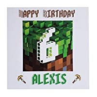 Personalised Minecraft Happy Birthday Greeting Card Age Name - computer gaming fan xbox ps4 pc handmade & bespoke