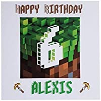 Personalised Minecraft Happy Birthday Greeting Card Age Name