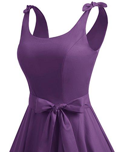 Bbonlinedress 1950er Vintage Polka Dots Pinup Retro Rockabilly Kleid Cocktailkleider Purple
