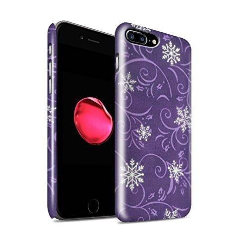 STUFF4 Glanz Snap-On Hülle / Case für Apple iPhone 8 Plus / Grün Muster / Schneeflocke-Muster Kollektion Lila