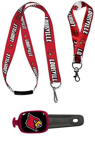 Wincraft Bundle 3 Teile: University Louisville Cardinals 1 Schlüsselband, 1 Umhängeband, 1 Umhängetasche, ID-Tag
