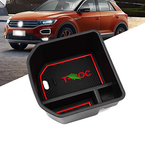 LFOTPP T-Roc Handschuhfach Armlehne Aufbewahrungsbox Center Console Armrest Storage Box Innen Rot (Console Box)