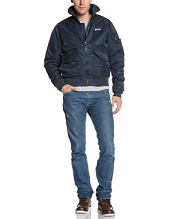 Schott Nyc 21031 - Blouson - Col polo - Manches longues - Homme - Bleu (Marine) - Large (Taille fabricant: L)