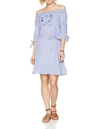 s.Oliver Damen Kleid 14.804.82.7994, Blau (Pazific Blue Struc. Strip 54H8), 40