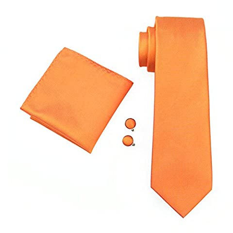 Mens Formal Paisley Striped Floral 100% Silk Woven Neck Tie, Pocket Square Hanky Cufflink Set (Plain Orange)