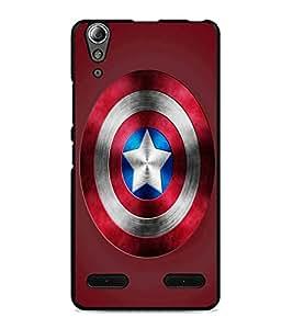 PrintDhaba Captain America Shield D-3328 Back Case Cover for LENOVO A6000 (Multi-Coloured)