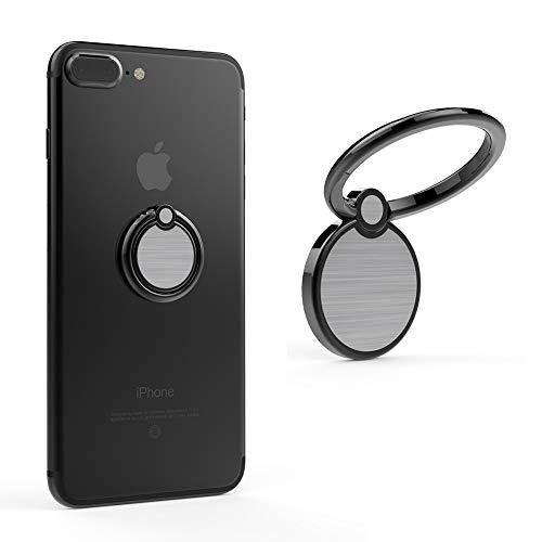 Creols Handy Ring Smartphone Halter, Fingerhalter, Halterung für alle Mobiltelefone, Metal, Magnetisch 360 Grad 0001 - Black