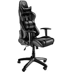 Diablo X-One Gaming Silla de Oficina Mecanismo de inclinación cojin Lumbar y Almohada Cuero sintético selección de Color Negro, 129 x 75 x 51