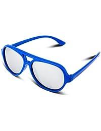 RIVBOS RBK004 Rubber Flexible Kids Polarized Sunglasses Age 3-10 (Blue Coating Lens)