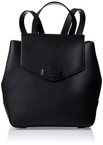 DKNY Sullivan Noir texturé Rabat en cuir sur sac à dos Black Leather