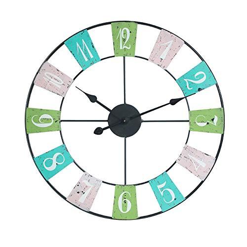 BGGZXX Retro Reloj de Cuarzo Arte de Hierro Decoración de Pared, Adecuado para Salón Dormitorio Sencillo