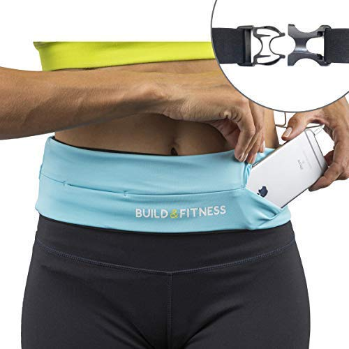 Running Belt, Fully Adjustable Fastener, Fitness Waist Belt, Key Clip. Fits iPhone 7 plus, Unisex, Suitable for Running, Cycling, Walking, Jogging, Gym, Traveling, Outdoors (Blue (Aqua))