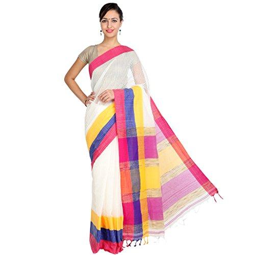 Tanya White, Blue, Orange and Pink Hand Woven Cotton Mahapar Saree Ornate...