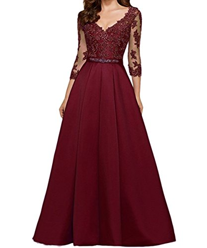 XIAOMING Damen Ball Kleider Lang Elegant V-Ausschnitt 3/4-Arm Abendkleider Burgundy 48