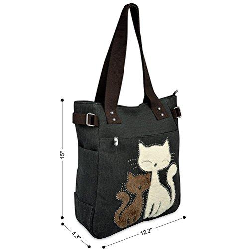 Honeymall Donne Canvas Handbag Vbiger Borse da Donna in Tela Gatto Carino Borse a Spalla Nero