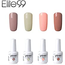 Elite99 Esmalte de Uñas Semipermanente Uñas de Gel UV LED Kit de Manicura 4pcs 15ml con 10pcs de Quitaesmaltes Pintauñas Soak off Base Coat Top Coat - Kit 001
