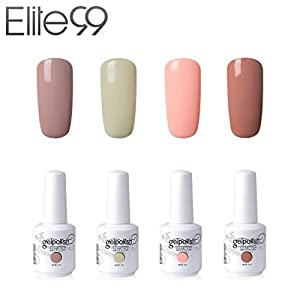 Elite99 Vernis Semi permanent Vernis à Ongles Gel UV LED Soakoff 4pcs Kit Manicure Pour Ongle 10pcs Remover Wraps Dissolvant 15ml - Kit001