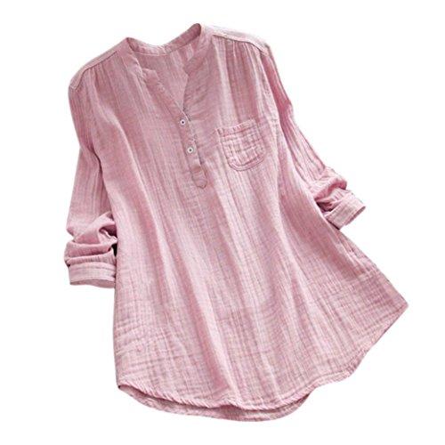 VJGOAL Damen Bluse, Damen Mode Solid Stand V Kragen Langarm T-Shirt beiläufige lose Tunika Baumwolle und Leinen Tops(40,Rosa) (Industries Hoodie World)