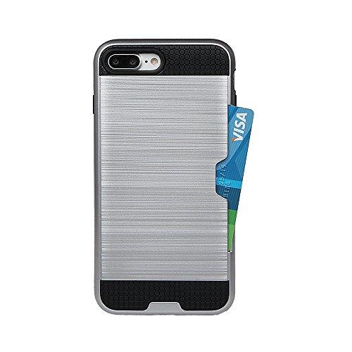 xhorizon MLK [Boîtier Slot Cartes de Crédit] [Pas Portefeuille] Plastique Dur PC TPU DOUX Mélangé Antichoc Couverture de Protection Lourde pour iPhone 7 #7 +9H Glass Tempered Film