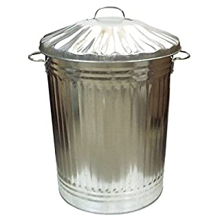 Galvanised Metal Garden Bin Garage Storage Large Dustbin Garbage Compost Eco 90L
