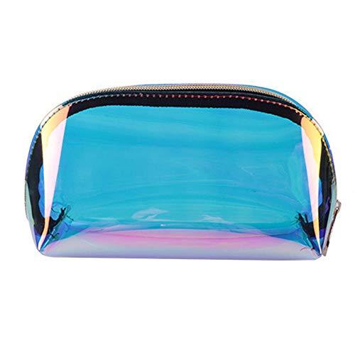 Womdee Holografische Make-up-Tasche, schillernde Kosmetiktasche & TPU-Kulturtasche & Clutch & Reisetasche für Frauen Large Holographic/Iridescent