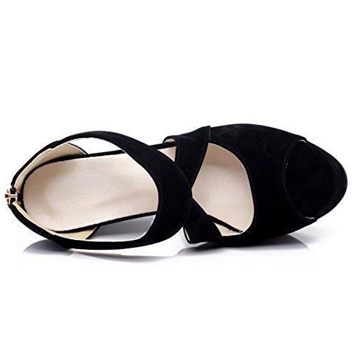 Taoffen Dos Pretos Transversais De De Senhoras Salto Peep Sandálias Bloco Criss Sapatos toe Moda rqTCr6wx
