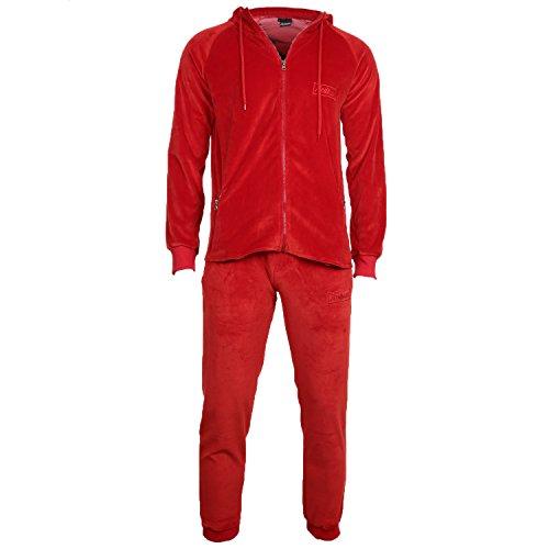REDRUM Trainingsanzug Joggingset Jacke Hose Kapuze Cortina Velo Velour Anzug (Rot, L) Kapuze Jacke Hose
