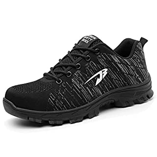 H-Mastery Steel Toe Cap Trainers Mens Womens Safety Shoes Work Lightweight Midsole Protection(Black,Size 6.5 UK)