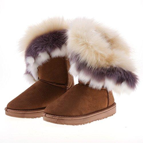 CRAVOG Donna Classico Autunno Inverno Neve Stivali Snow Boots Pelliccia Stivali Piatto Ginocchio Stivali Calzature