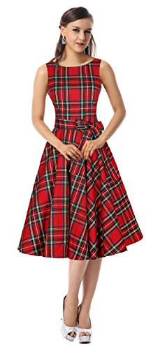 Kimring Women's 1950's Vintage Plaid Belted A-Line Picnic Party Cocktail Dress Rosso