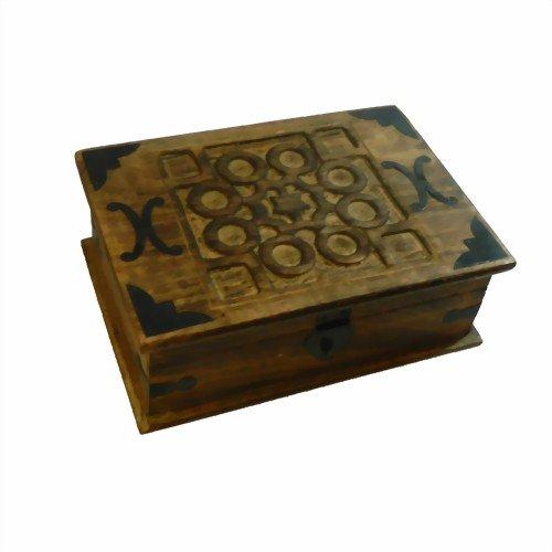 Antike Massivholz (Schmuckschatulle Antik-Look Holzbox 26x18x9cm Schmuckkasten Massivholz Aufbewahrungsbox)
