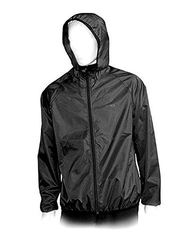 Unisex Ultraleicht Regenjacke Funktionsjacke 150 Gramm Gr. S M L XL XXL schwarz mit integrieter Tasche (S)
