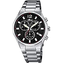 Lotus Men's Quartz Watch with Black Dial Chronograph Display and Silver Stainless Steel Bracelet 10125/4