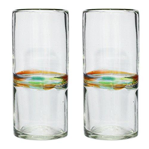 Handgemachtes Hi-Ball Glas - recyceltes Glas - Verschiedenfarbiger Streifen - Set aus 2 Gläsern Hi-ball Gläser