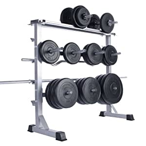 Physionics Dumbbell & Barbell Weights Storage Rack Stand Holder Home Gym Workout Fitness Weightlifting Bars