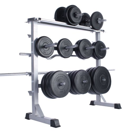 Physionics Hantelablage Hantelständer für Langhanteln und Gewichtsscheiben ca. 100/95/47 cm, 300 kg (Maximal Belastbarkeit), rutschfest