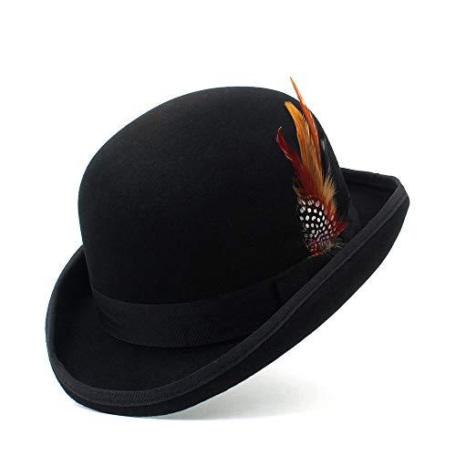 MADONG Schwarzer Steampunk viktorianischer Formaler Hauben-Hut-Wollfilz-Weinlese-Magier Fedoras Präsident Bowler Hat (Farbe : Schwarz, Größe : 59cm) (Präsidenten Kostüm)