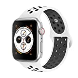 Tervoka Compatible with Apple Watch Correa 44mm 42mm, Banda Pulsera Brazalete de Repuesto de Silicona Suave Deportivo para iWatch Series 4/3/2/1, Tamaño M/L, White/Black