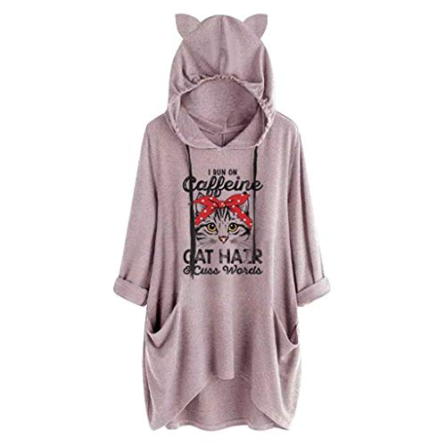 NPRADLA Damen Hoodie Large Size Herbst Lässig Brief Drucken Katze Ohr Mit Kapuze Bluse Langarm Tasche Tops Mädchen Pullover - Coca Cola Kleid Kostüm
