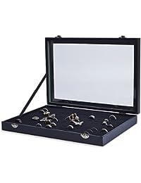 AKORD 100 Ring Velvet Jewellery Display Box Storage Tray Case Holder Stand Organiser, Wood, Black, 35.5 x 24.5 x 4.5 cm