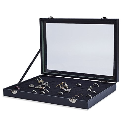 AKORD 100 velvet ring jewelery case display case storage tray Holder Stand Organizer, wood, black, 35,5 x 24,5 x 4,5 cm