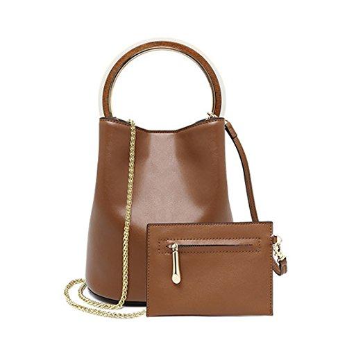 Maod borse a spalla donna eleganti borse a mano moda borsa a tracolla pelle borsetta ragazza casual tote borse per shopping partito viaggiare (marrone)