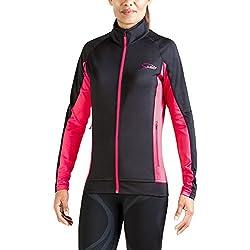 XAED Veste de course à manches longues pour femme (tailleS, noir/rose)