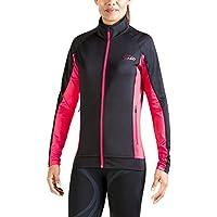 XAED - Chaqueta para correr de manga larga para mujer (grande, negro/rosa)