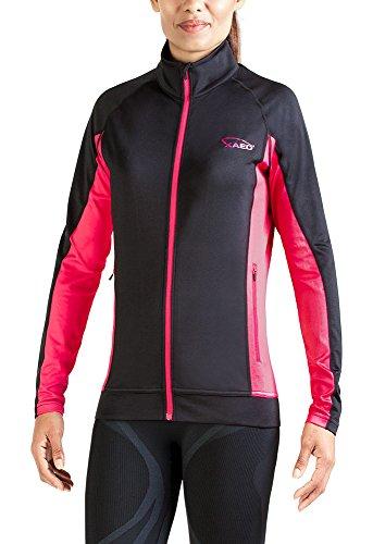 Xaed - giacca a vento a maniche lunghe, da donna, medium, colore nero / rosa